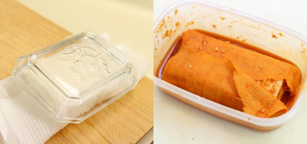 [One point advice]For tofu, use a plate or PET bottle, put a weight of about 500g on it, and drain it.  (Left) When soaking tofu in seasoning, it is easier to take it out after completion if it is wrapped in bleached rice.  (Shooting / Photo Club, Takuya Matsunaga)